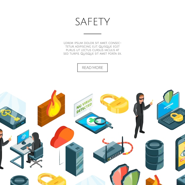 Isometric data and computer safety icons Premium Vector