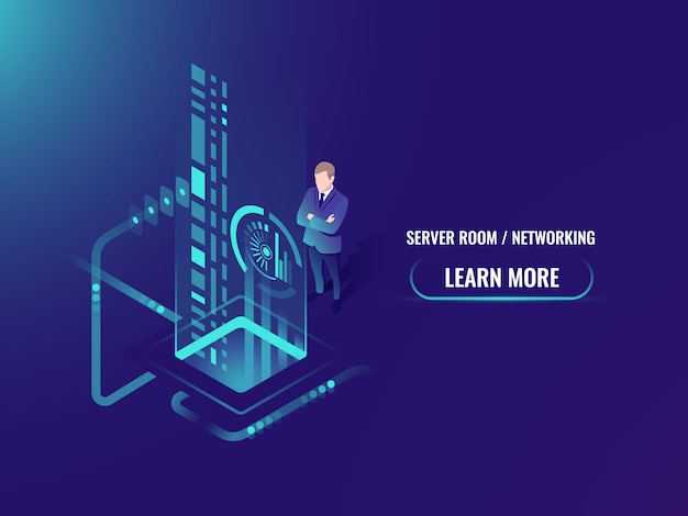 Isometric data flow processing, safe\ information on cloud server concept