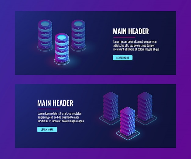 Isometric data flow processing, server room, data center and database banner, web host Free Vector