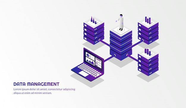 Isometric data management background Premium Vector