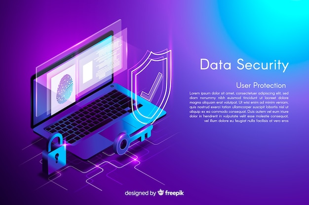 Isometric data security background Free Vector