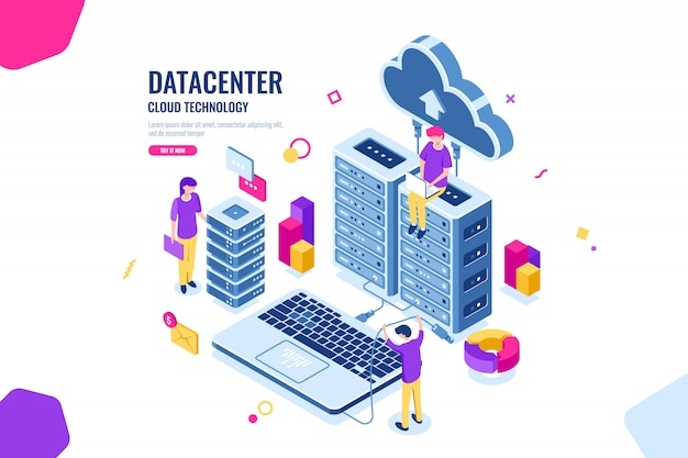 Isometric data security, computer engineer, data center and server room, cloud computing Free Vector