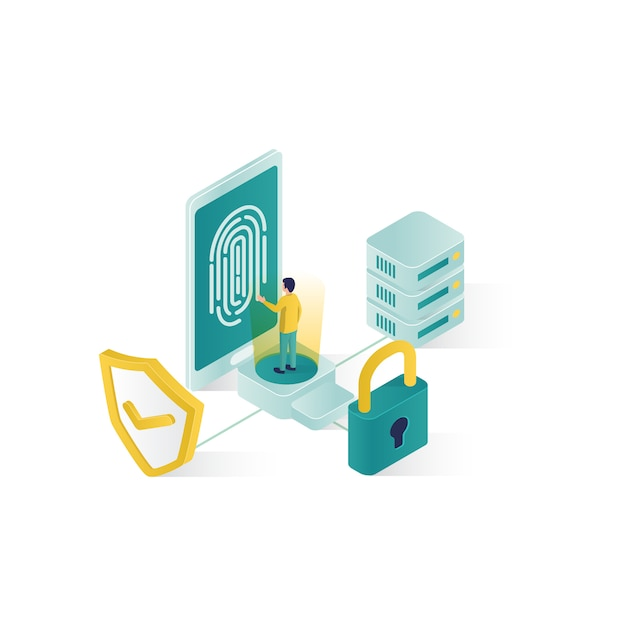 Isometric data security illustration, people data security in isometric style design Premium Vector