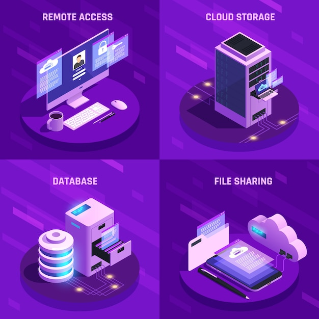 Isometric data storage service banner collection Free Vector