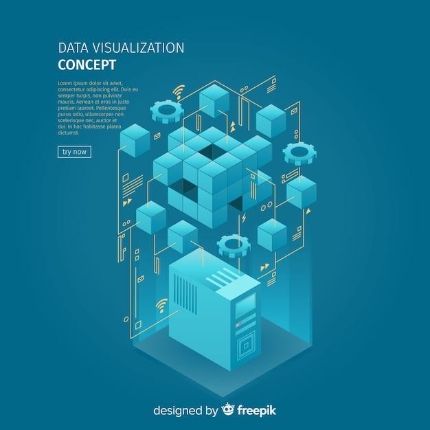 Isometric data visialization concept illustration Free Vector