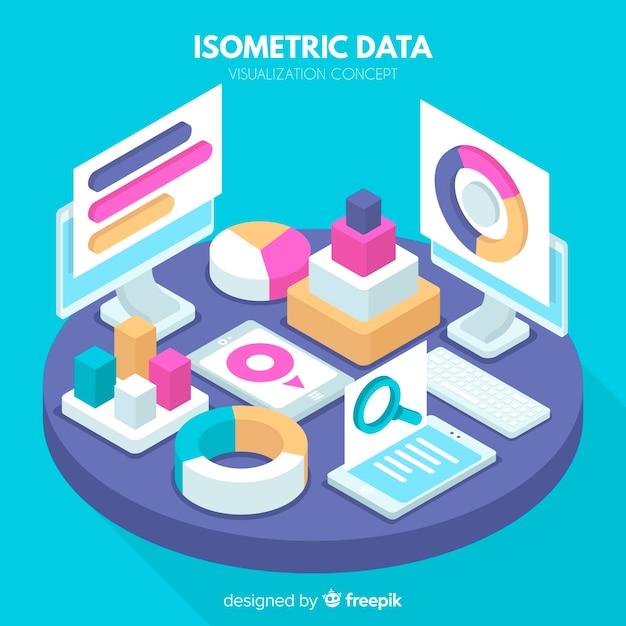 Isometric data visualization background Free Vector