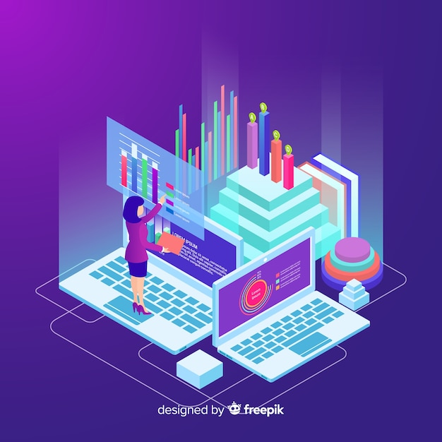 Isometric data visualization concept background Free Vector