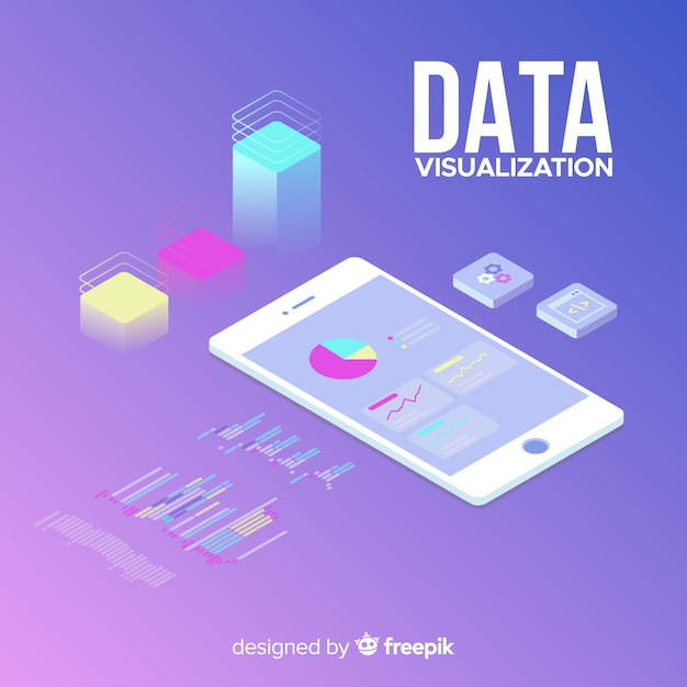 Isometric data visualization concept Free Vector