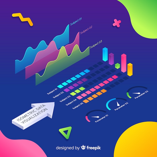 Isometric data visualization elements background Free Vector