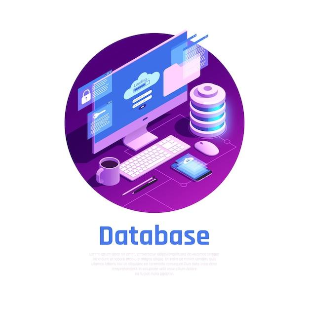 Isometric database illustration Free Vector