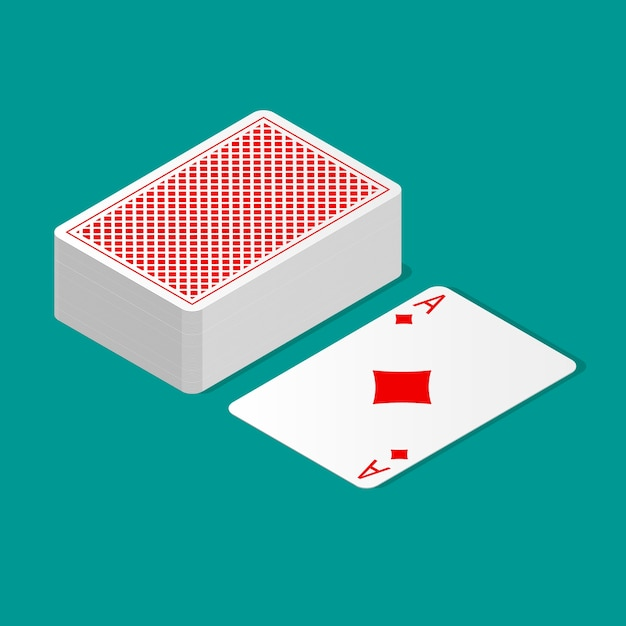 Isometric deck of poker cards upside down and one card suit up. playing cards with back design. Premium Vector