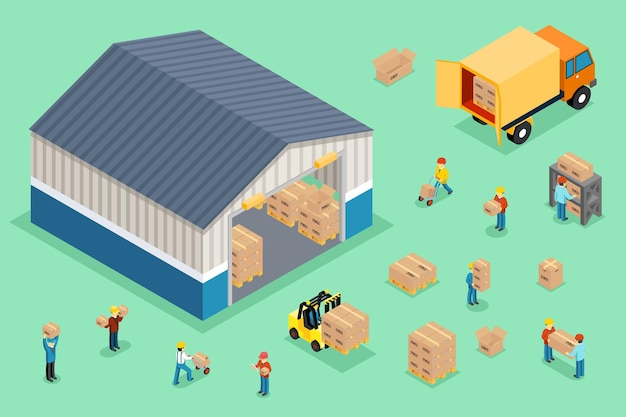 Isometric delivery and logistics Free Vector