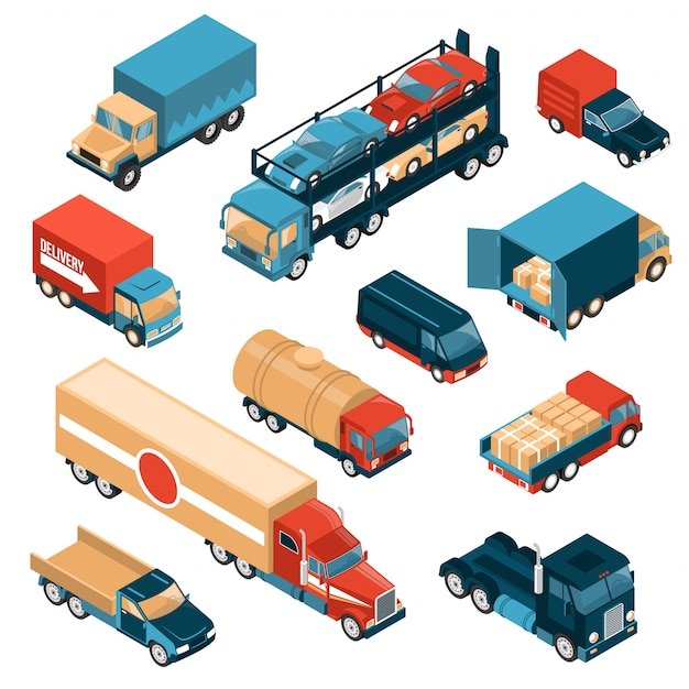 Isometric delivery trucks set of isolated images with motor lorry cars and vehicles for different freights Free Vector