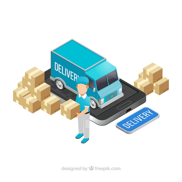Isometric delivery with truck and\ smartphone