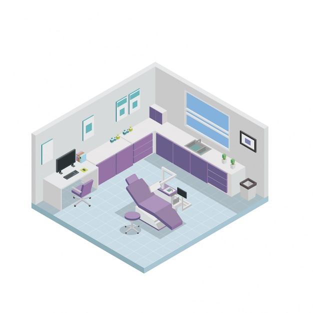 isometric dental clinic interior design vector premium download