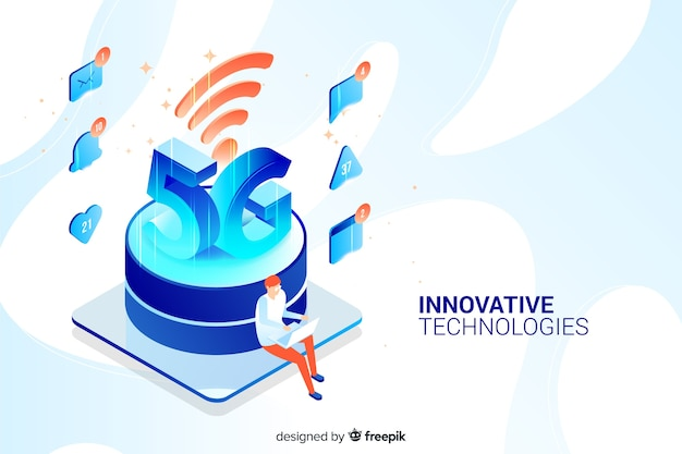 Isometric design 5g concept background Free Vector