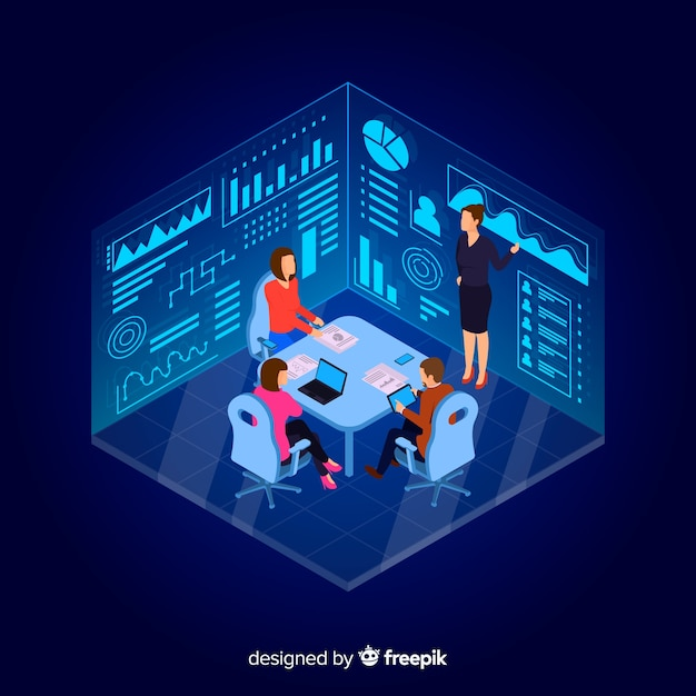 Isometric design business people in a meeting Free Vector