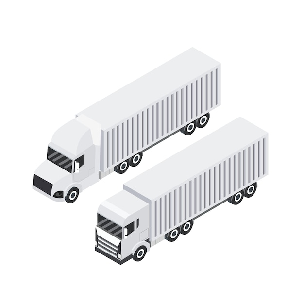 Isometric design of cargo truck. heavy haul trailer Premium Vector