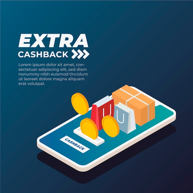 Isometric design for cashback concept Free Vector