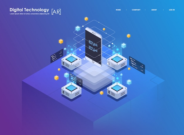 Isometric design concept virtual reality and augmented reality. ar and vr development. digital media technology for website Premium Vector