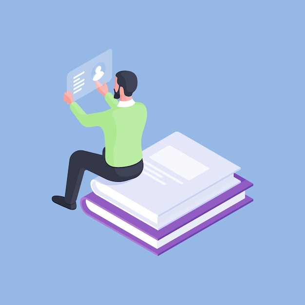 Isometric design of formal male manager reading profile card while sitting on stacked pile of books isolated on blue background Premium Vector