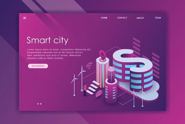 Isometric design landing page business town Premium Vector