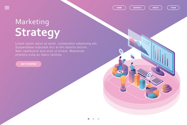Isometric design landing page business Premium Vector
