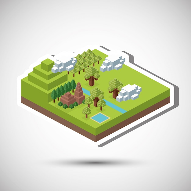 Isometric design. nature. eco concept, vector illustration Premium Vector