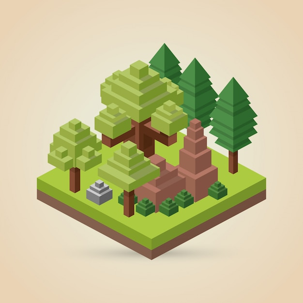 Isometric design. nature. eco concept, vector illustration Premium Vector