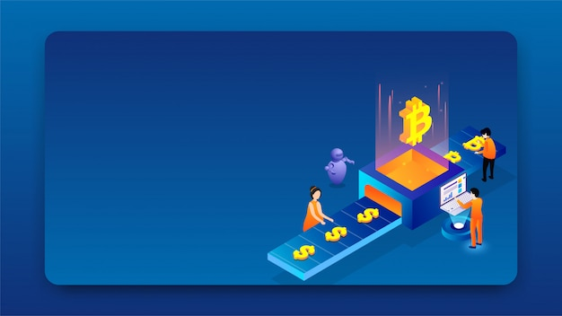 Isometric design of virtual currency exchange platform. Premium Vector