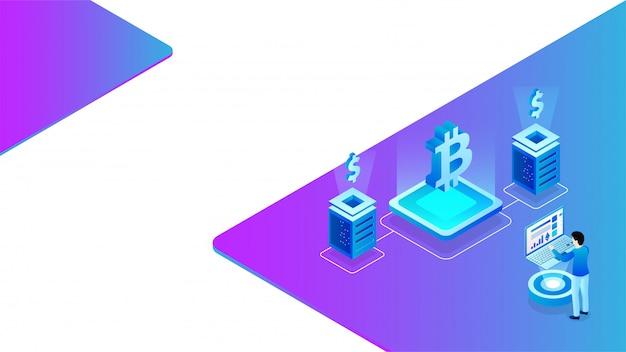 Isometric design of virtual currency exchange platform. Premium Vector