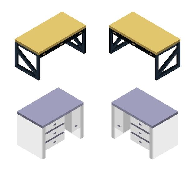 Isometric desk set Free Vector