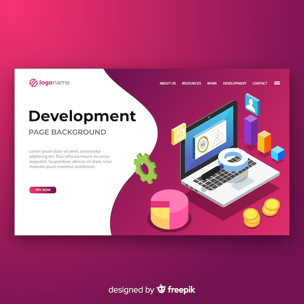 Isometric development landing page template Free Vector