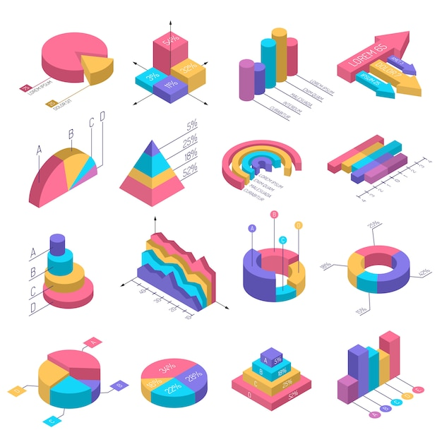 Isometric diagrams infographic set Free Vector