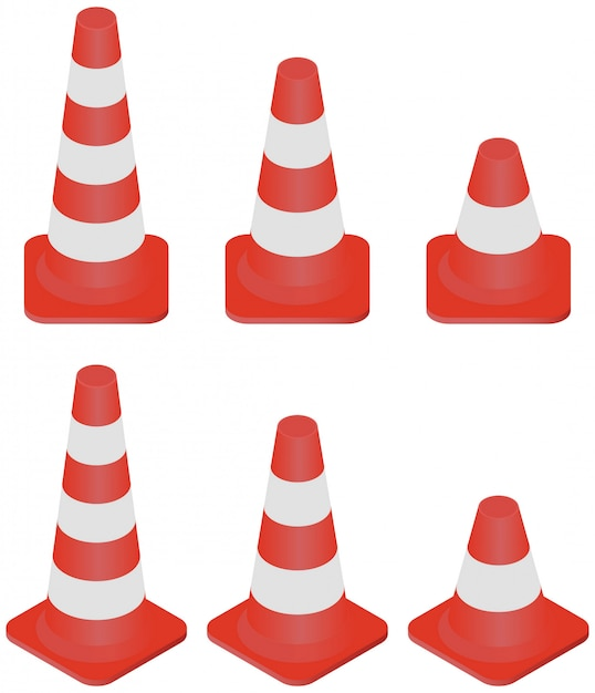 Isometric different size of traffic cones collection isolated on white. Premium Vector