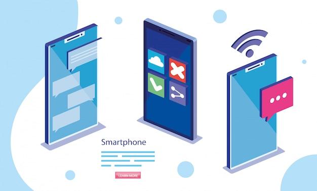 等尺性デジタルスマートフォンベクターデザイン Premiumベクター