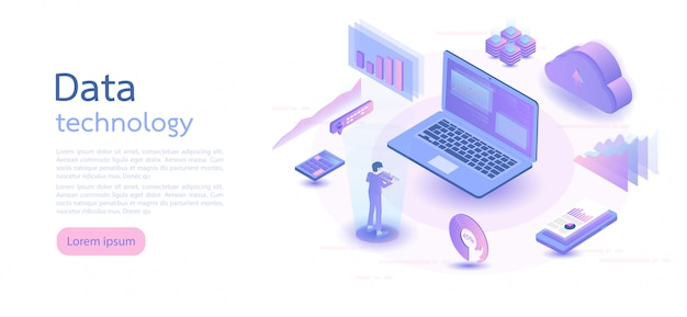 Isometric digital technology. isometric vector illustration. Premium Vector