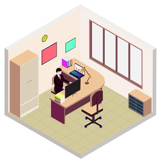 Isometric director office room icon Premium Vector