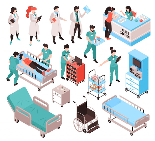 Isometric doctor nurse hospital workers set with isolated human characters in uniform clothes with furniture items vector illustration Free Vector
