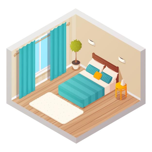 Isometric domestic bedroom interior design composition Free Vector