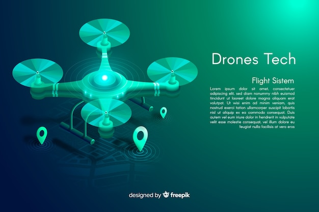 Isometric drones tech background Free Vector