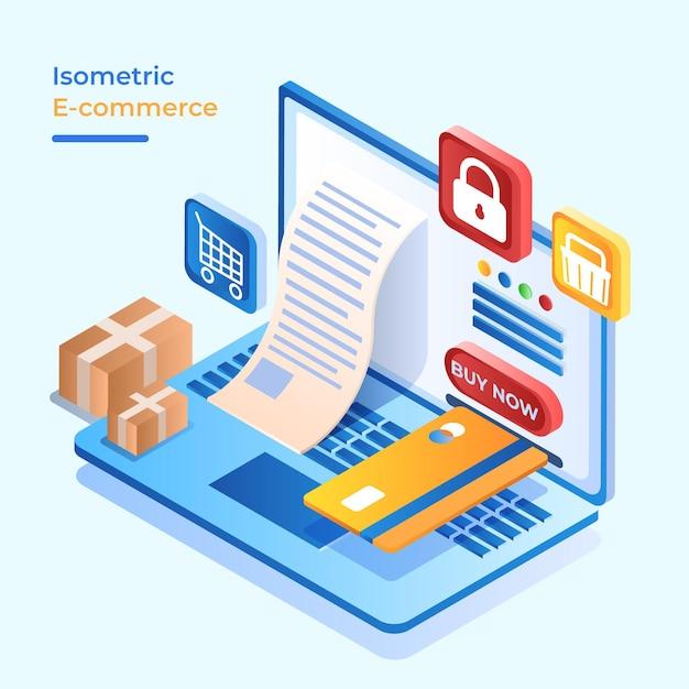 Изометрическая концепция электронной коммерции безопасности оплаты труда Бесплатные векторы