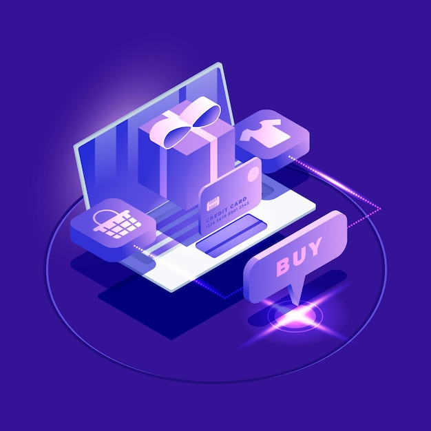 Isometric e-commerce - concept Free Vector
