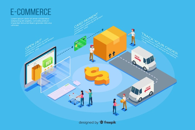 Isometric e-commerce elements background Free Vector