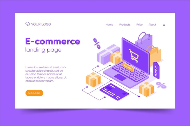 Isometric e-commerce landing page Free Vector