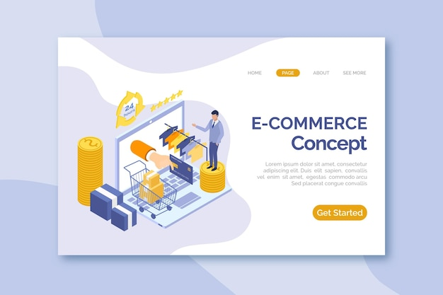 Isometric e-commerce - landing pages Free Vector