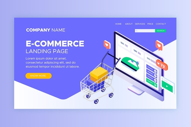 Isometric e-commerce landing pages Free Vector