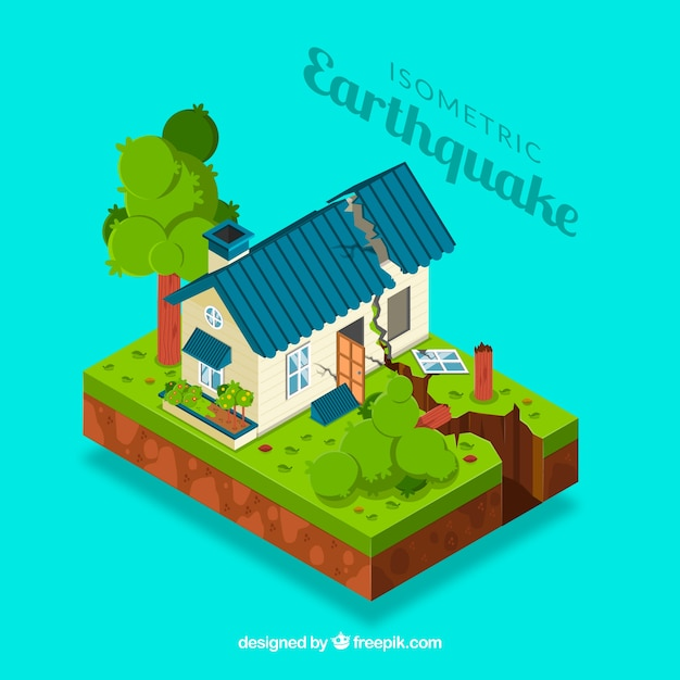 Isometric earthquake design Free Vector