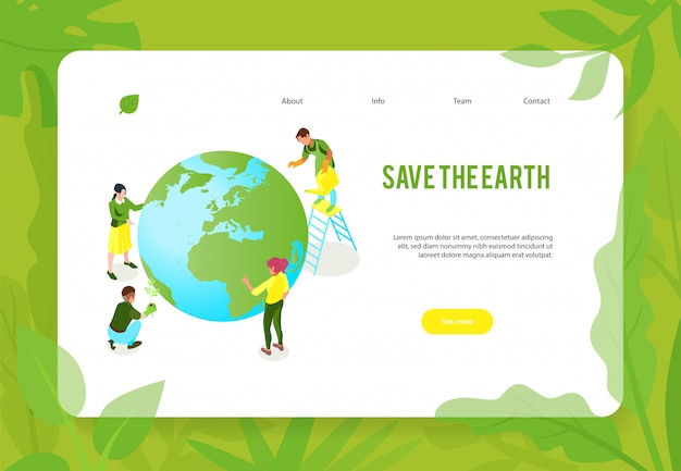 Isometric ecology pollution concept banner web page design with earth globe human characters and clickable links Free Vector