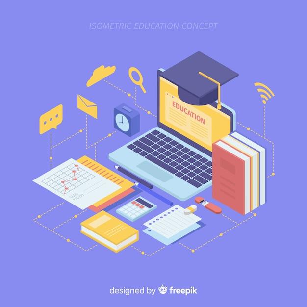 Isometric education background Free Vector